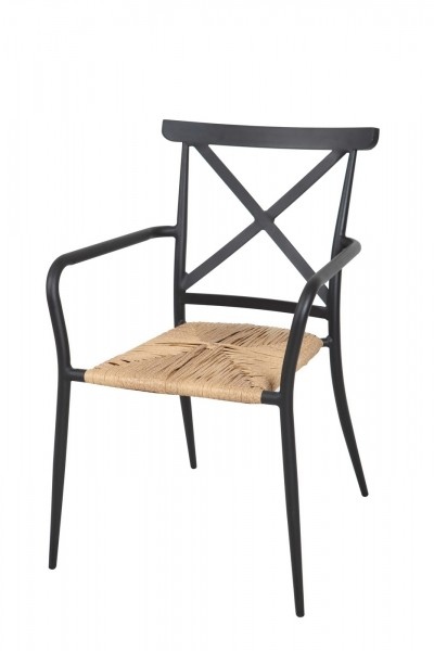 AKS Skagen Stuhl Rattan 56x57x84 cm schwarz/natur