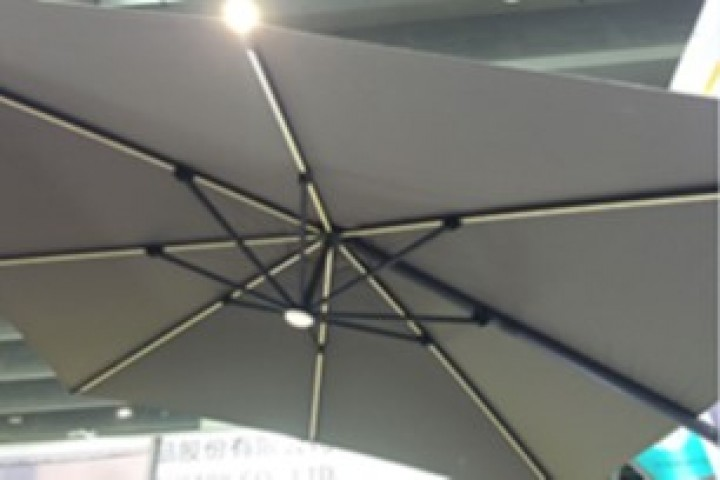 AKS Ampelschirm Alu Olifen beleuchtet 300x300 cm dunkelgrau