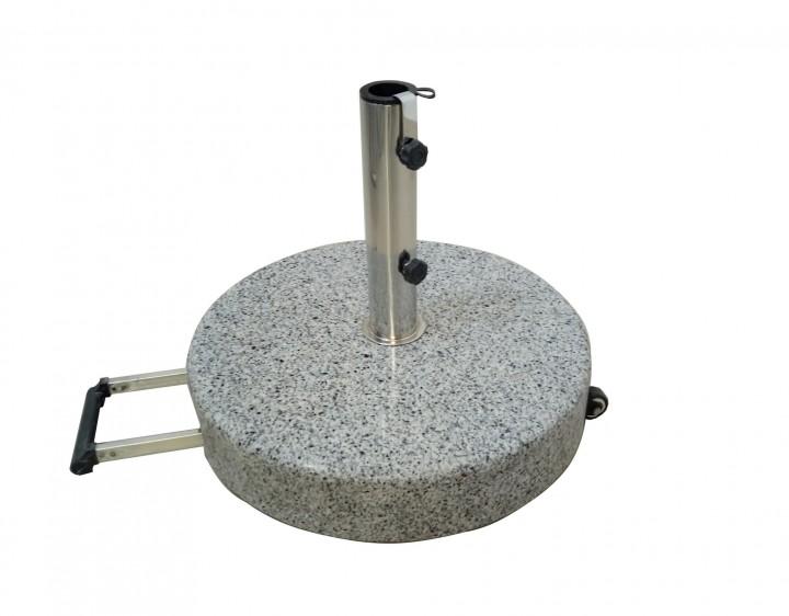 AKS Granitschirmständer 40 kg rund mit Griff ausziehbar 50x38,6 cm grau