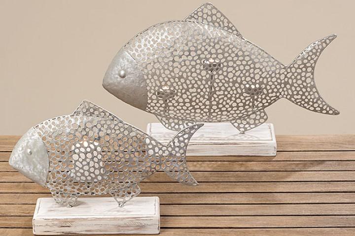 Teelichthalter Frederik Holz, Metall 55 cm beige