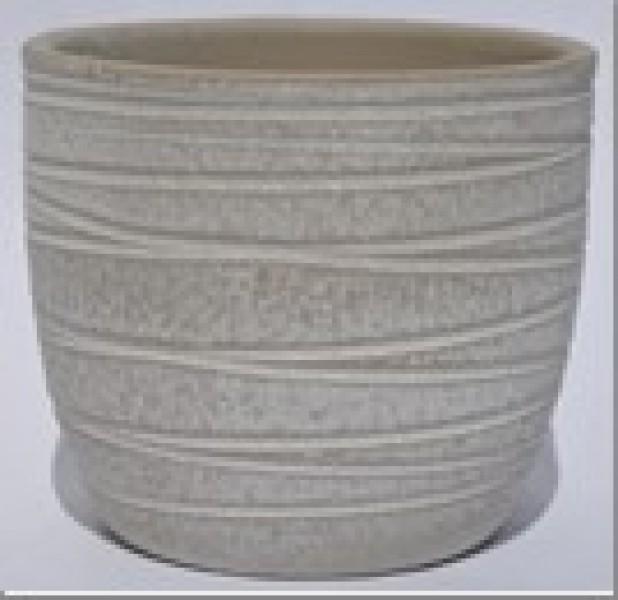 Übertopf Keramik Rillen 32 cmalt weiß