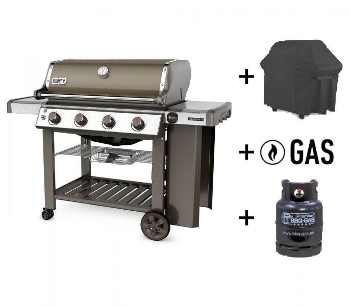 Weber Set Genesis II E-410 GBS + Gasflasche, Gas, Hülle, smoke
