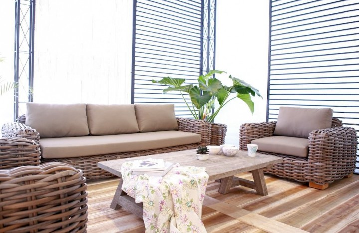 AKS Mumbai Loungeset Geflecht 4-telig Natural CL, incl. Kissen