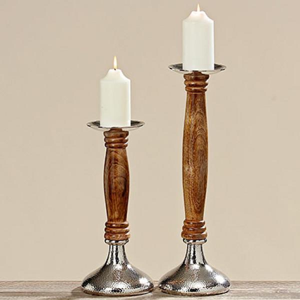 Kerzenleuchter Gust Alu, Mango 38 cm braun
