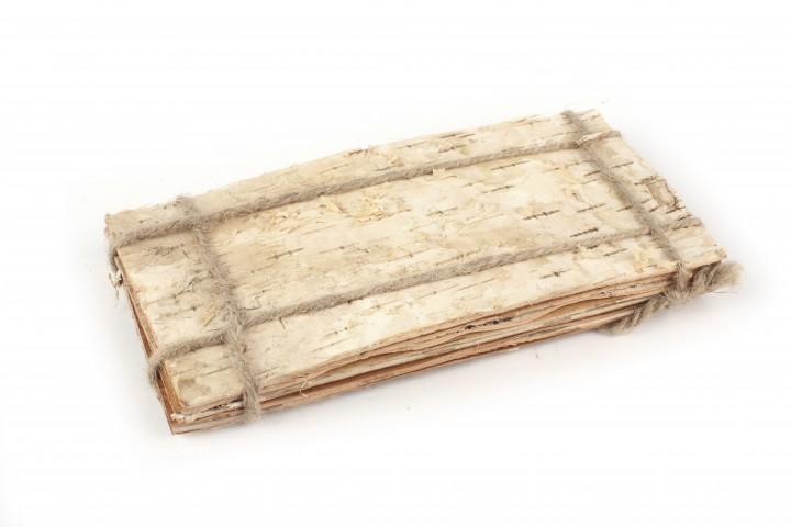 Birkenplatte Rinde rechteckig 20x10 cm, 8 Stück