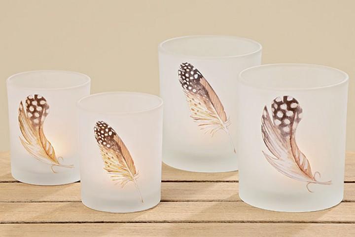 Windlicht Wings Glas lackiert 8,5x7 cm