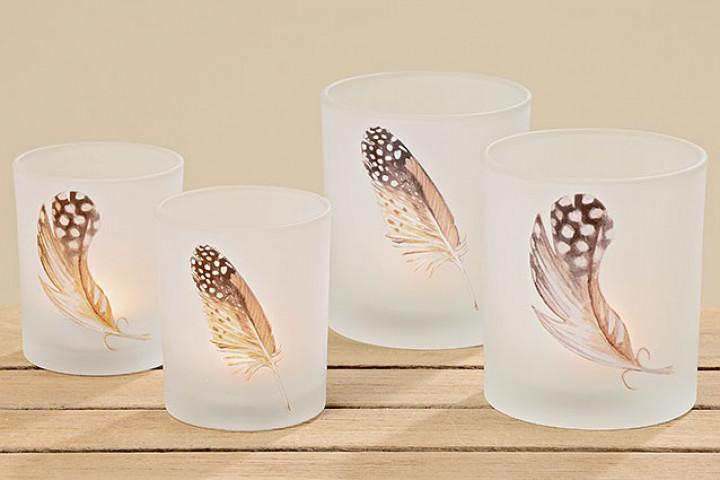 Windlicht Wings Glas lackiert 10x9 cm