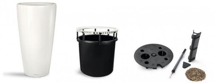 Lechuza RONDO 40 Premium AIS mit Griffeinsatz, weiß glanz