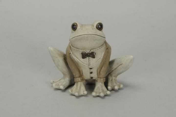 Figur Frosch Polyresin 15x9x12 cmbraun-grau, frostfest