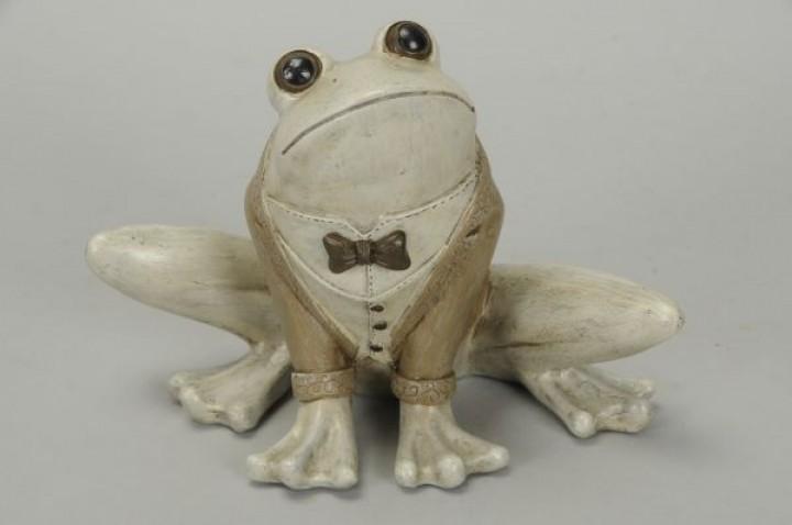 Figur Frosch Polyresin 22x13x15 cmbraun-grau, frostfest
