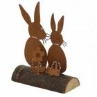 Aufsteller Hasenpaar 11,5 cm rost
