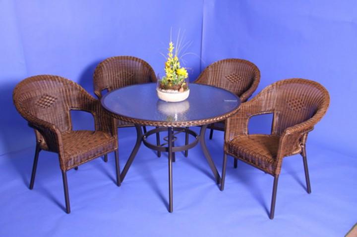 AKS Gomera Geflechtgruppe 4 Sessel, 1 Tisch cappuccino