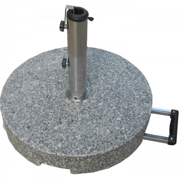 Granitschirmständer rund 50 kg grau mit ausziehbarem Griff