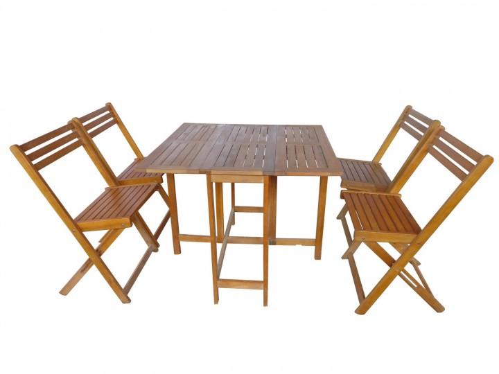 AKS France Balkonset 1 Tisch, 4 Stühle Akazie natur
