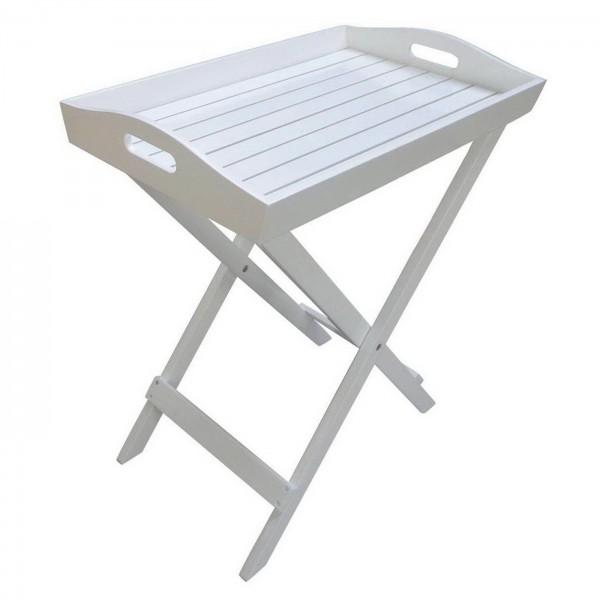 AKS Tablett Butler mit klappbarem Ständer 60x40x72cm Akazie weiß