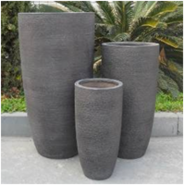 Vase Fiberglas 23,5x23,5x46 cm hellgrau
