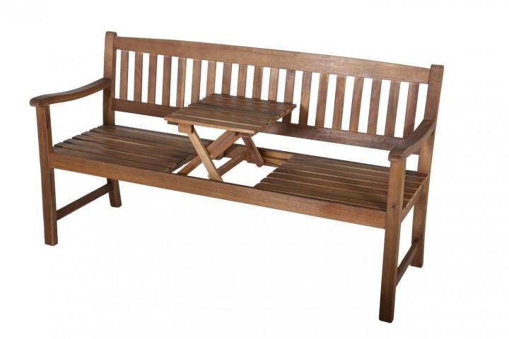 AKS Florida Plus Bank 3er Akazie mit Tisch 150x65x93 cm natur