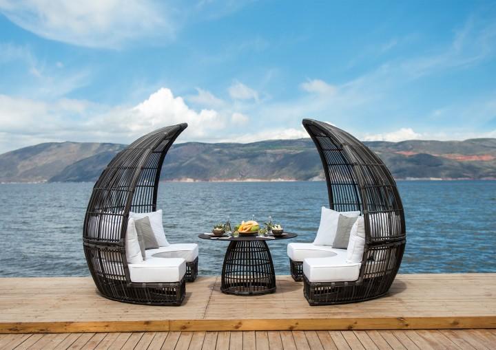 AKS Bamboo Loungeset Geflecht 3-teilig rauch, Kissen beige