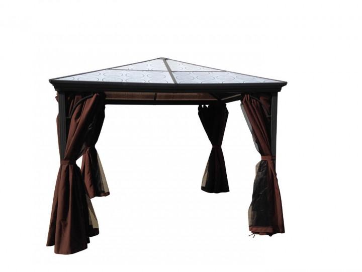 AKS Pavillon 300x300x263 cm charcoal grau, mit Moskitonetz