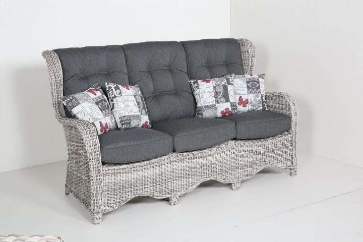 AKS Broadway 3er Sofa 184x90x108 cm Geflecht weiß, grau
