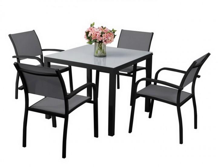 AKS Sardinien Dining Set 4 Sessel, 1 Tisch schwarz