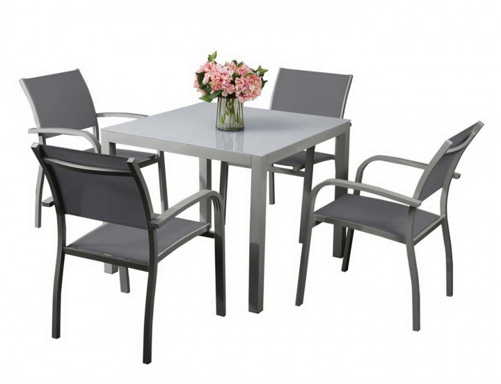 AKS Sardinien Dining Set 4 Sessel, 1 Tisch hellgrau