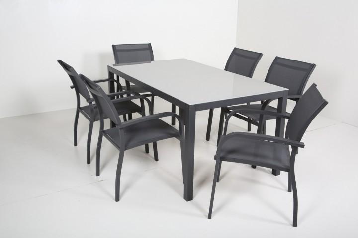 AKS Sardinien Dining Set 6 Sessel, 1 Tisch schwarz