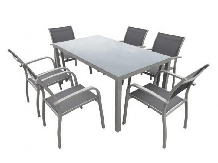 AKS Sardinien Dining Set, 6 Sessel 1 Tisch, hellgrau