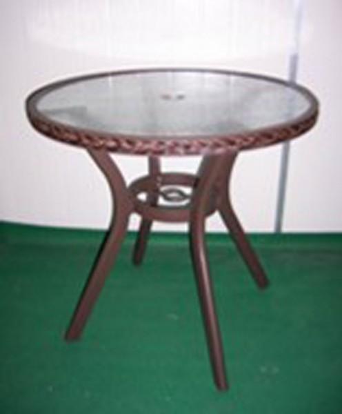 AKS Gomera Tisch Glas 72 cm Geflecht anthrazit HB1512
