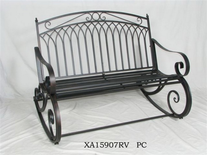 AKS Louisiana Schaukelbank Eisen 119x92x97 cm hellgrau