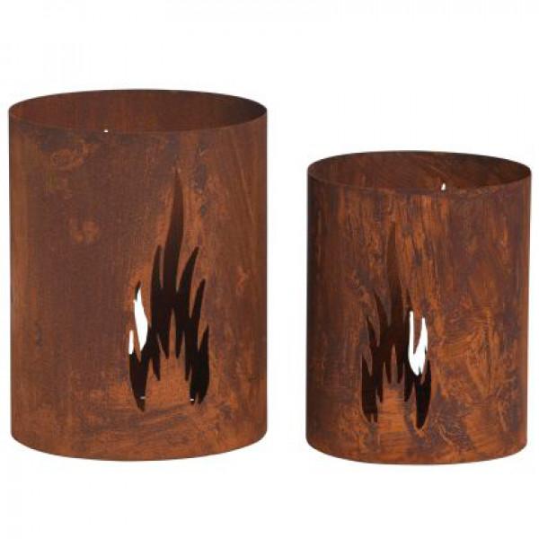 Windlicht Eisen Flammenmotiv 17x21 cmrost
