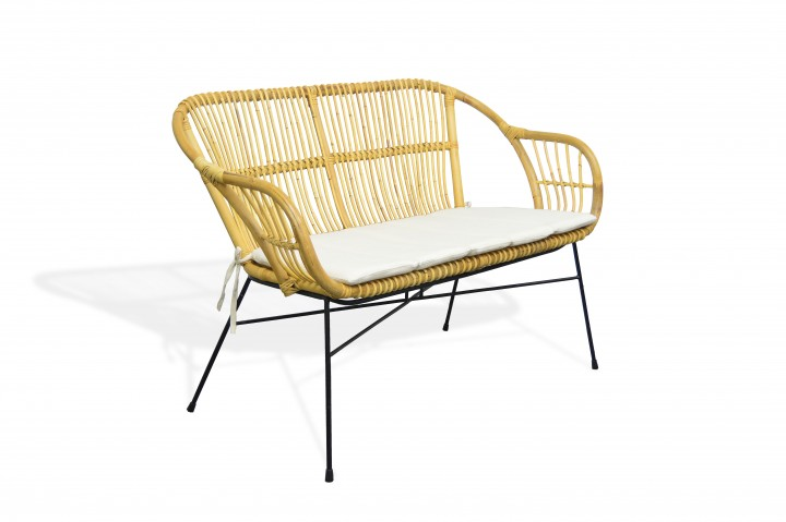 AKS Firenze Bank Rattan 113x65x82 cm honey, Incl. Kissen