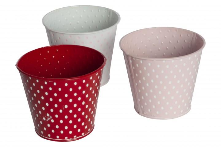 Zink-Übertopf gepunktet 14,5x12,5 cm rosa/weiß/rot