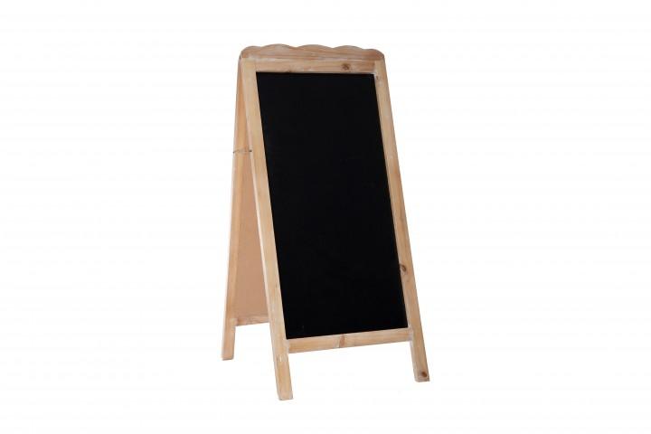 Antikholz-Tafel selbststehend 46x4,5x103 cm braun/weiß gewaschen