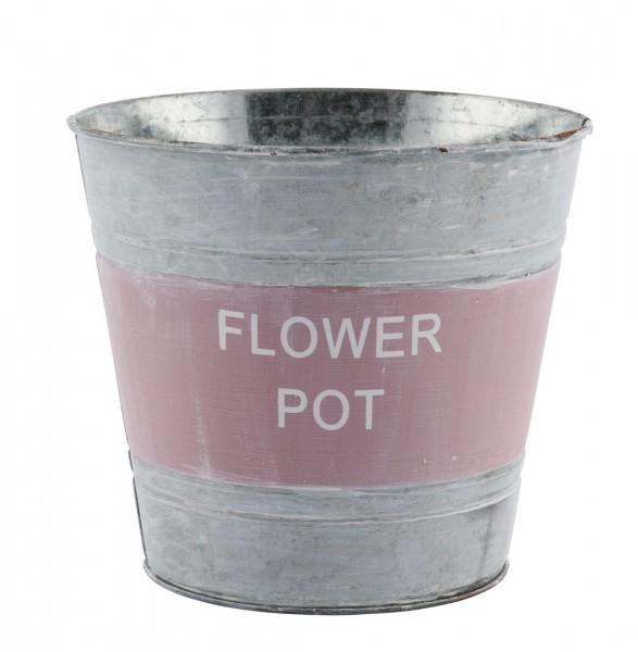 Zinktopf 'Flower Pot' 12x14,5 cm altrosa