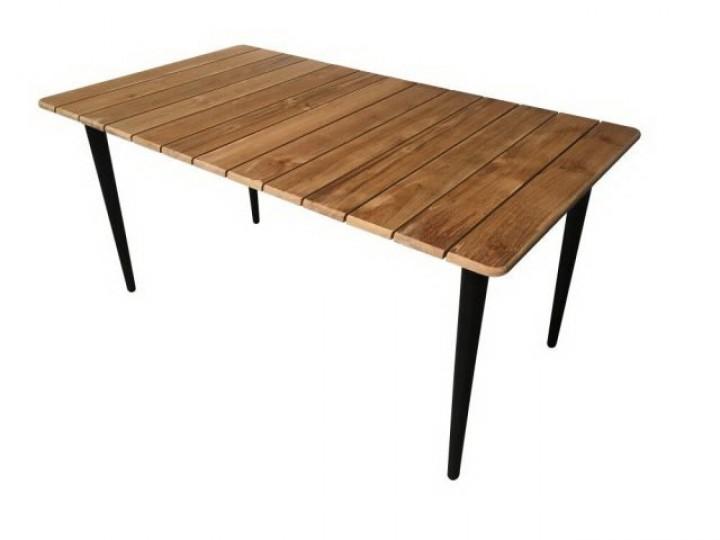 Aks Laval Tisch 160x90x75 Cm Schwarz Mit Teak