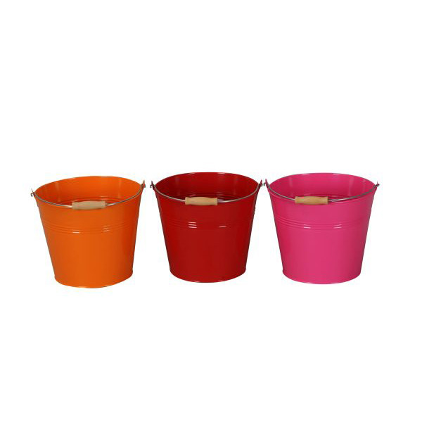 Eimer Metall 15,5x14 cm orange-rot-pink