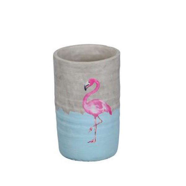 Vase Zement Flamingo 14x21 cm grau-rosa