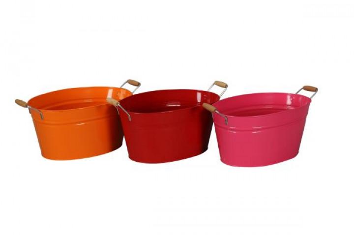 Schale Metall oval 38,5x25,5x20 cm orange-rot-pink