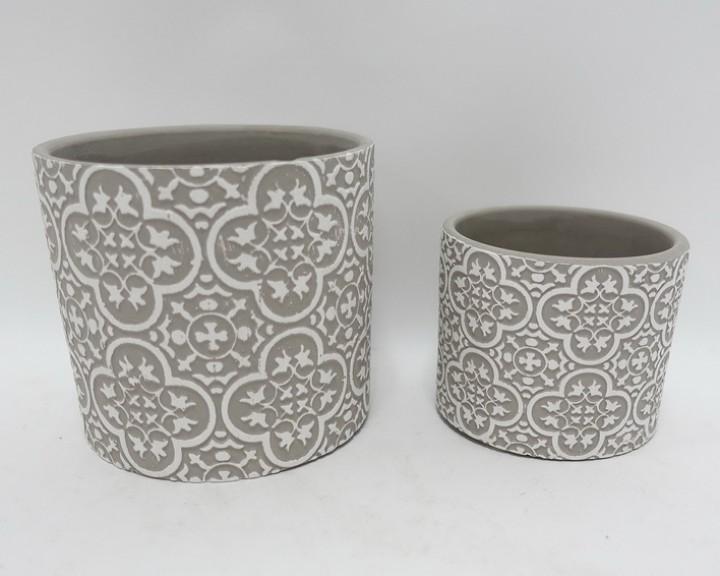 Übertopf Zement 13,5x12,5 cm grau-weiß