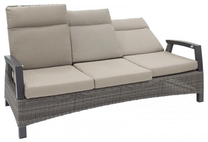AKS Benedetto Sitzbank Polyrattan/Kunstoffgeflecht charcoal, 3-Sitzer