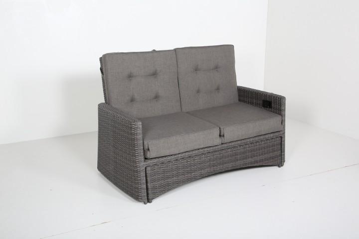 AKS Toronto 2er Sofa Move Geflecht grau, Kissen grau-braun