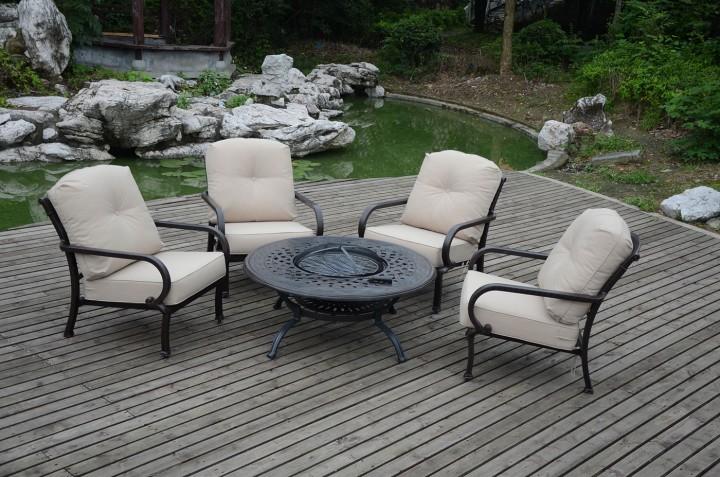 Aks Glasgow Loungeset 1 Tisch 4 Sessel Aluguss Bronze Gartenmobel