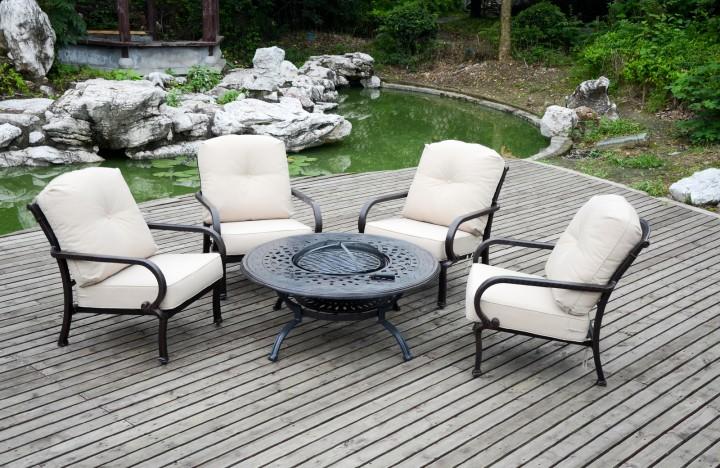 AKS Glasgow Loungeset 1 Tisch, 4 Sessel Aluguß, bronze