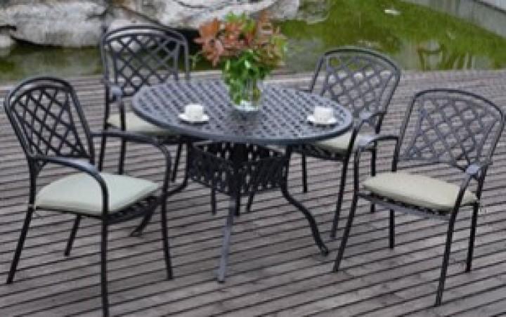Aks Leets Dining Set 1 Tisch 4 Sessel Aluguss Bronze Gartenmobel