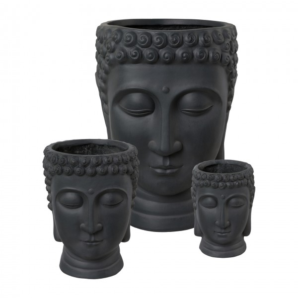 Buddhakopf zum Bepflanzen 19x18x24 cm antrazit