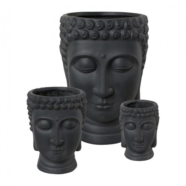 Buddhakopf zum Bepflanzen 26x25x34 cm antrazit