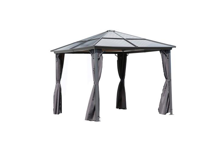 AKS Rimini Pavillon mit Glasdach 3x3 m grau