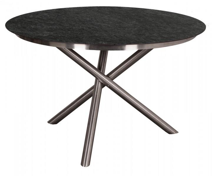 AKS Ballina Tisch Edelstahl HPL Platte 120x75 cm grau, patina rock