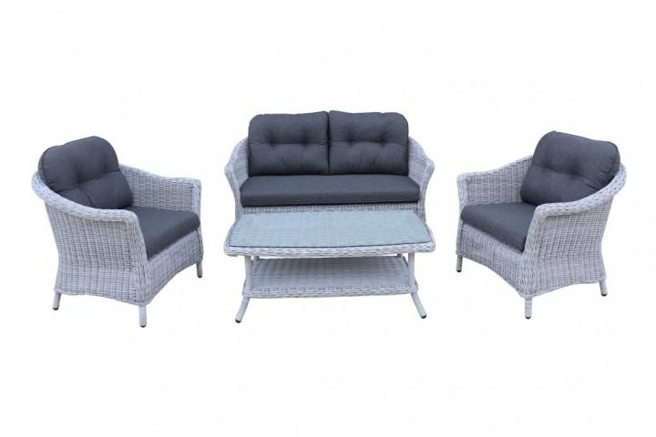 AKS Irvine Lounge Set Geflecht 4-teilig, pearl blue